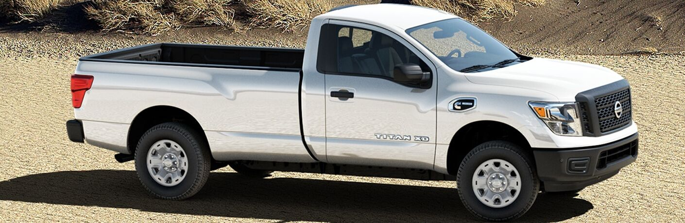 white 2018 Nissan Titan XD side view