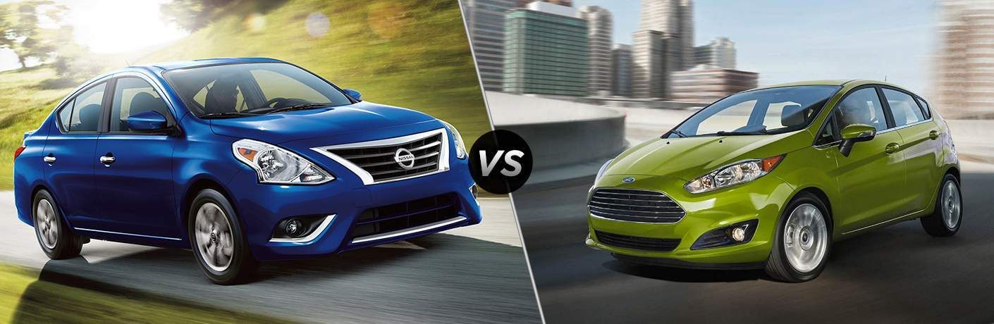 2018 Nissan Versa and 2018 Ford Fiesta side by side