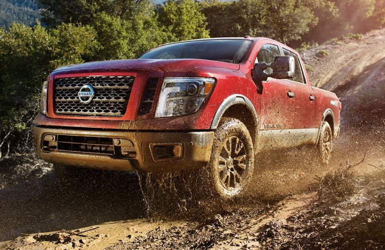 red 2018 Nissan Titan front side view