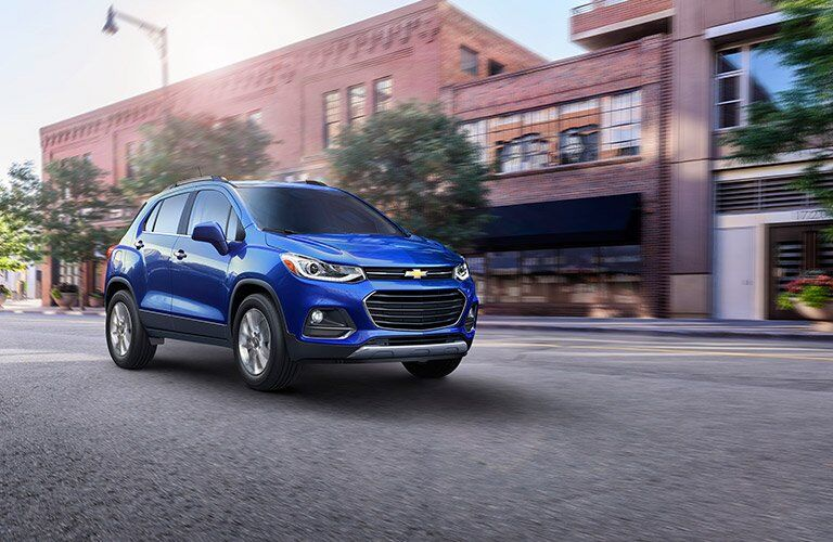 2017 blue chevy trax driving