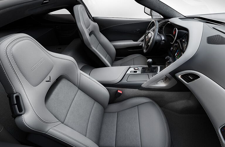 2019 Chevy Camaro overhead interior shot of seating upholstery and pattern, dashboard layout, steering wheel, and transmission knob