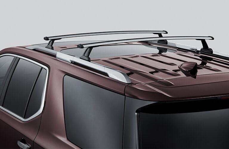 2019 Chevrolet Traverse exterior closeup shot of roof rails enabled
