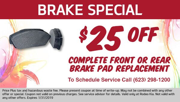 Discount on Brake Service at Rodeo Kia in Avondale