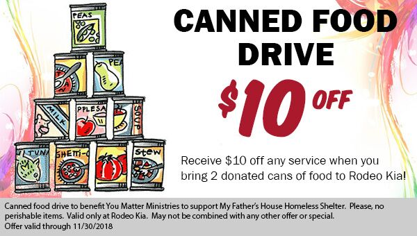Rodeo Kia Canned Food Drive - Save $10 on Service