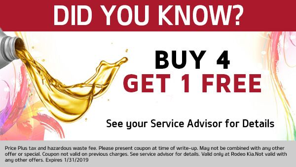 Buy 4 Oil Changes, get your 5th for FREE! At Rodeo Kia in Avondale