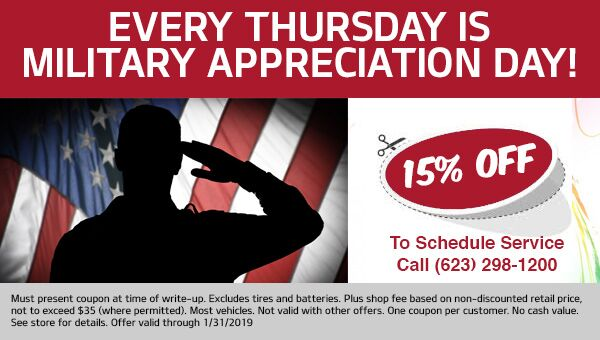 Military Discount 15% OFF your Vehicle Service at Rodeo Kia in Avondale