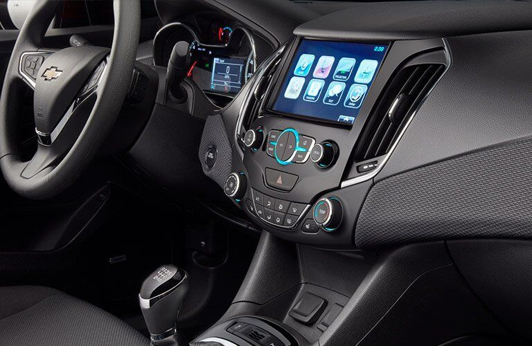 Close-up of the touchscreen of the 2017 Chevy Cruze