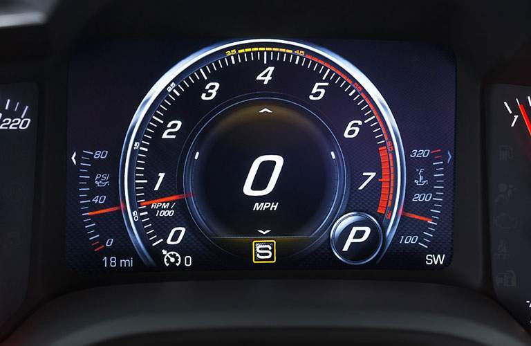 2018 Chevy Corvette Z06 speedometer and performance gauges of the 2018 Chevy Corvette Z06