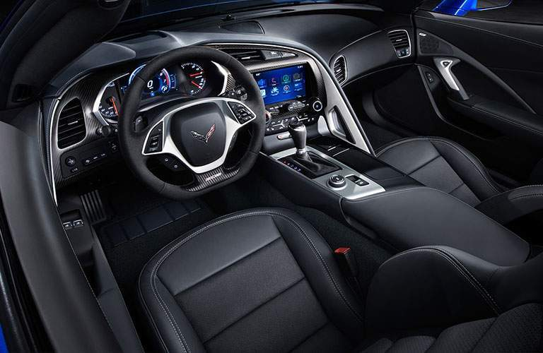 View of the interior dashboard of the 2018 Chevy Corvette Z06