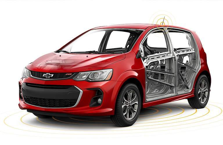 2018 Chevy Sonic side profile with view of support beams