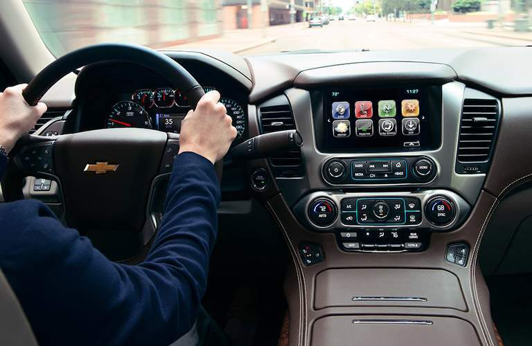 2018 Chevy Suburban interior view of the dashboard and infotainment system