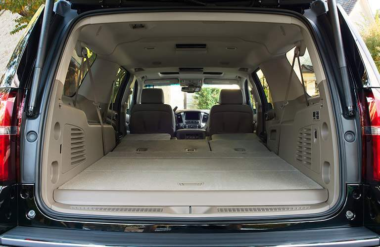 2018 Chevy Suburban with seats folded down showing large cargo area