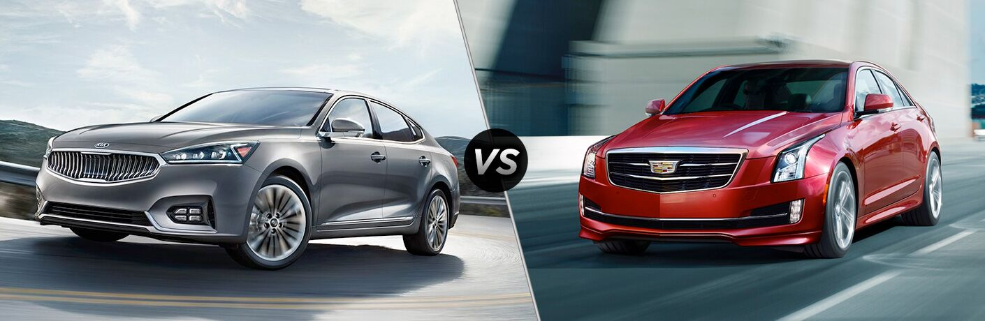 Comparison image of a gray 2018 Kia Cadenza and a red 2018 Cadillac ATS