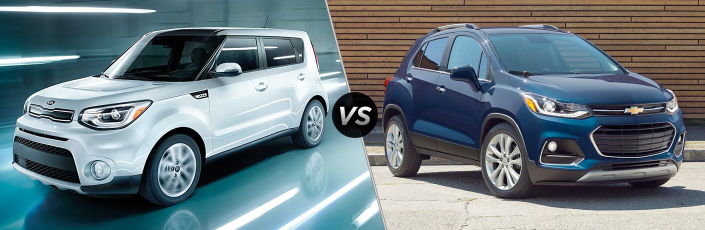 2018 kia soul and 2018 chevy chevrolet trax side by side