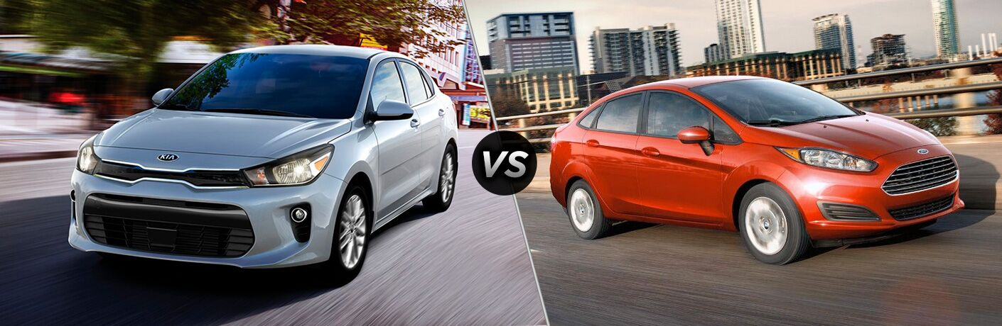Comparison image of a white 2018 Kia Rio and an orange 2018 Ford Fiesta