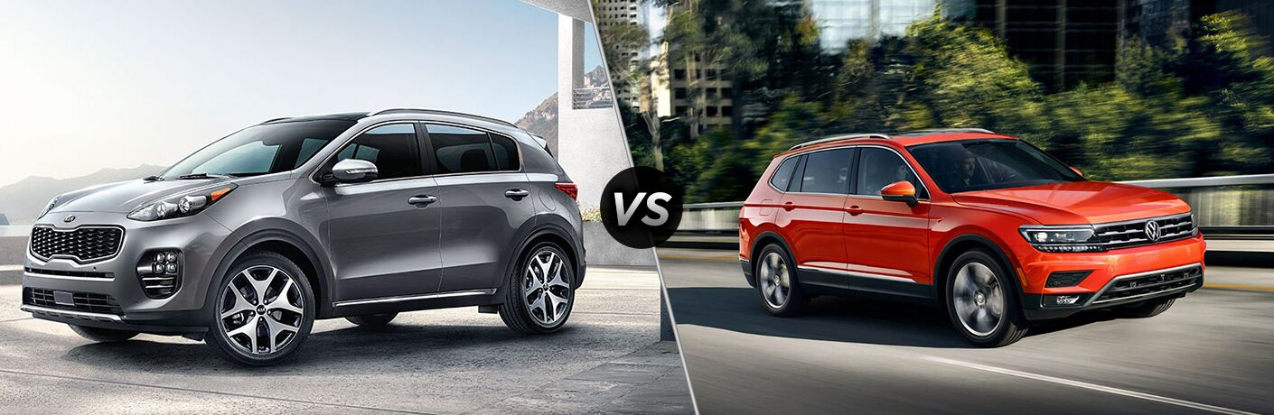 2018 kia sportage and 2018 volkswagen tiguan side by side