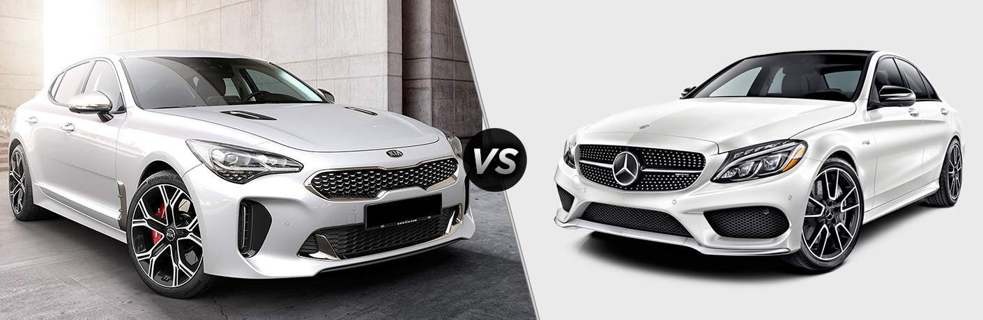2018 kia stinger gt and mercedes-benz c43 amg side by side