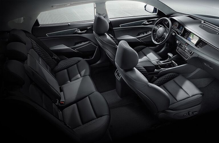 Interior view of the black seating inside a 2019 Kia Cadenza