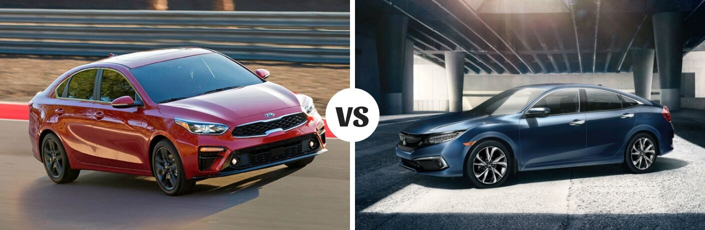 Comparison image of a red 2019 Kia Forte and a blue 2019 Honda Civic