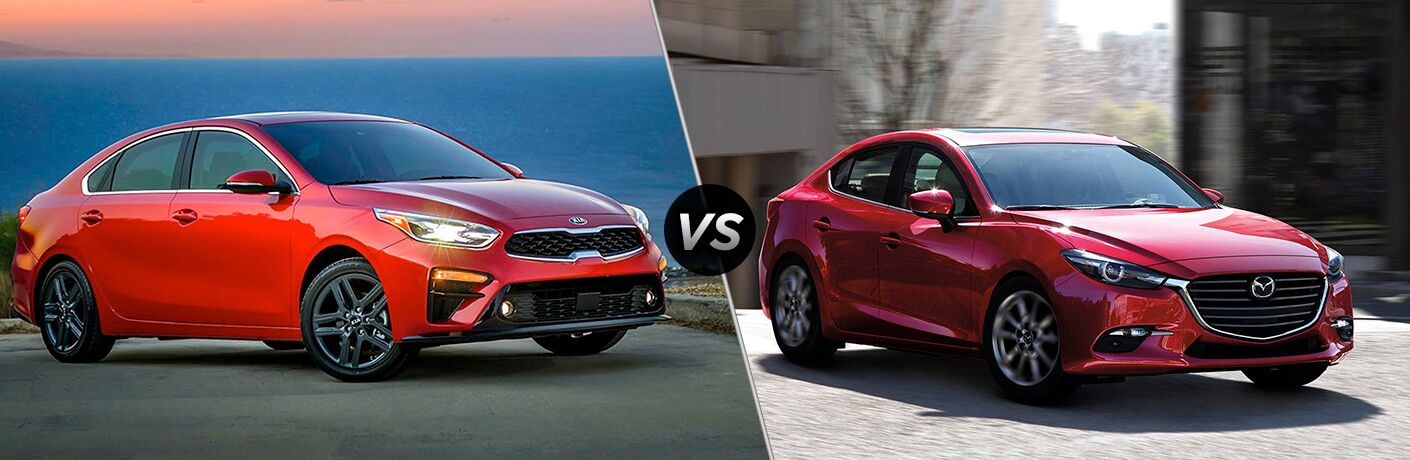 Comparison image of a red 2019 Kia Forte and a red 2019 Mazda3