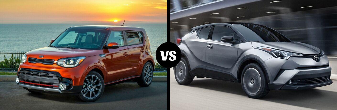Comparison image of an orange 2019 Kia Soul and a gray 2019 Toyota C-HR