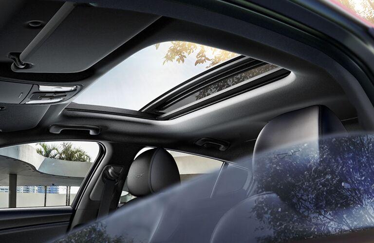 Interior view of the 2019 Kia Stinger highlighting the sedan's moonroof