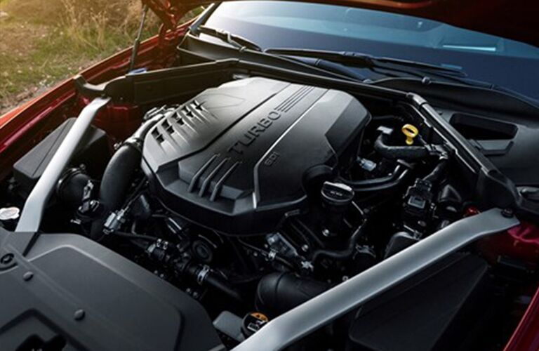 Closeup view of the 2019 Kia Stinger's engine with the hood popped open