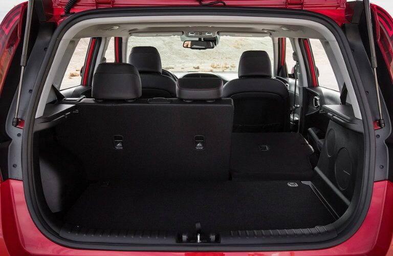 Interior view of the rear seating of a 2020 Kia Soul highlight the 60/40-split rear seat
