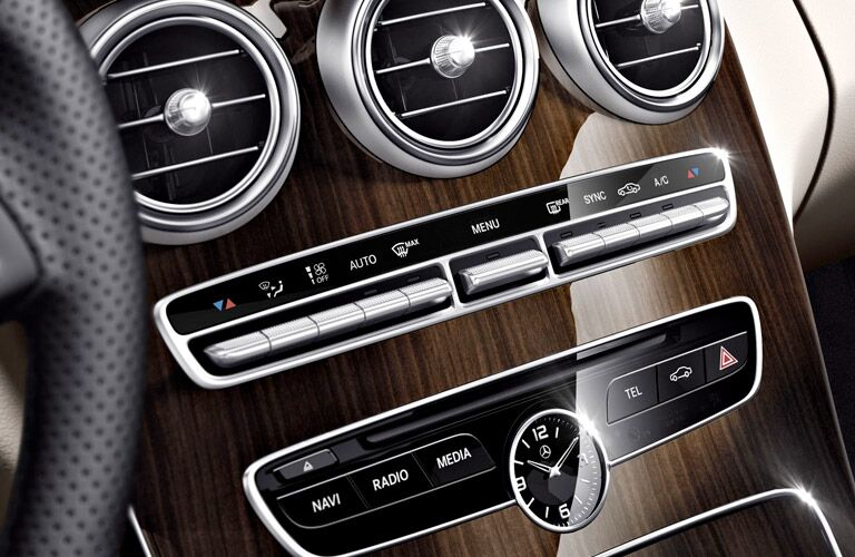 controls and AC vents on the 2017 Mercedes-Benz C-Class