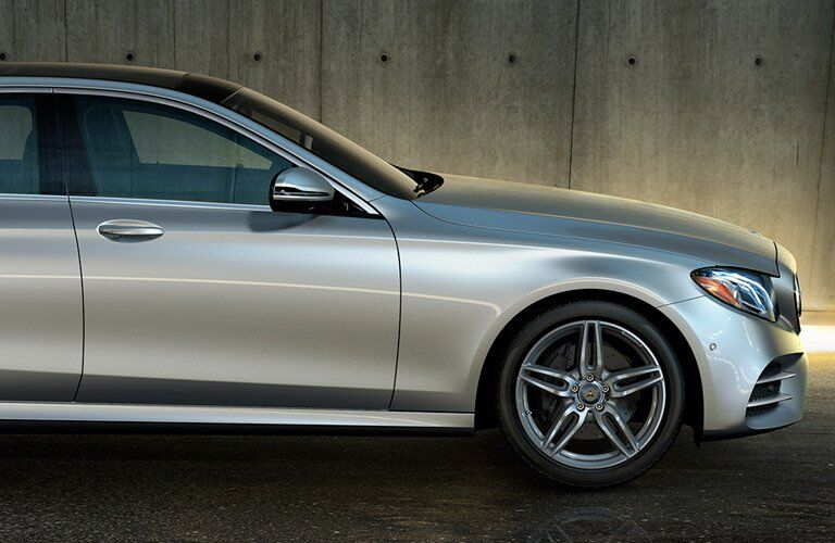 Silver 2017 Mercedes-Benz E-CLass Side Exterior and Wheel