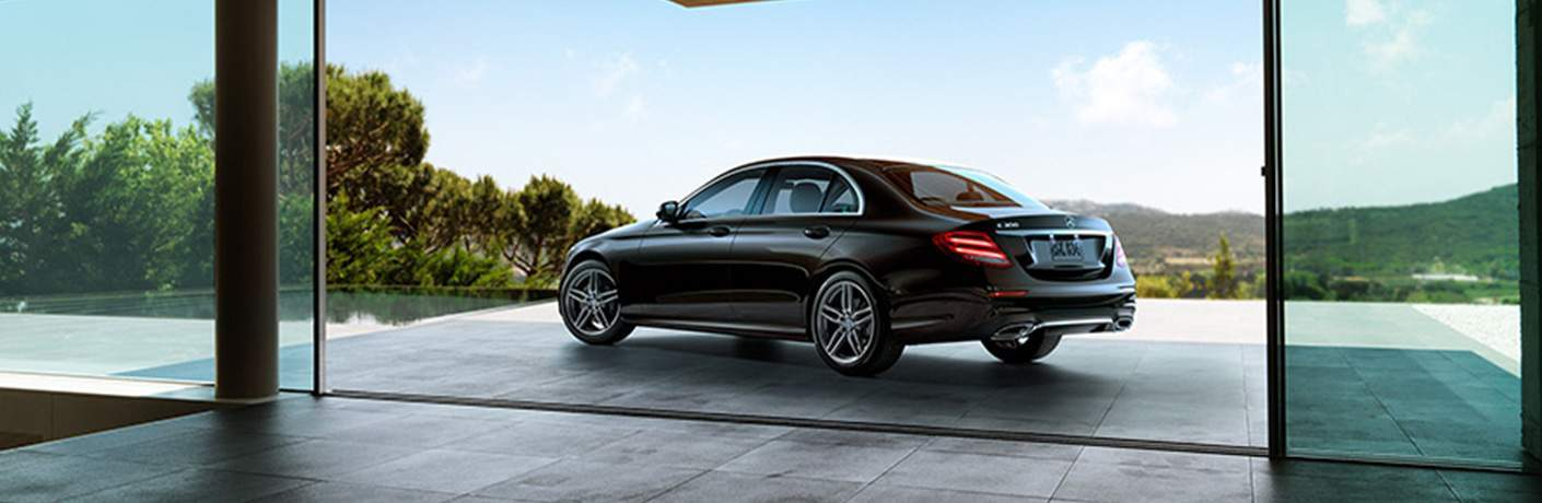 2018 Mercedes-Benz E-Class Sedan parked on a patio