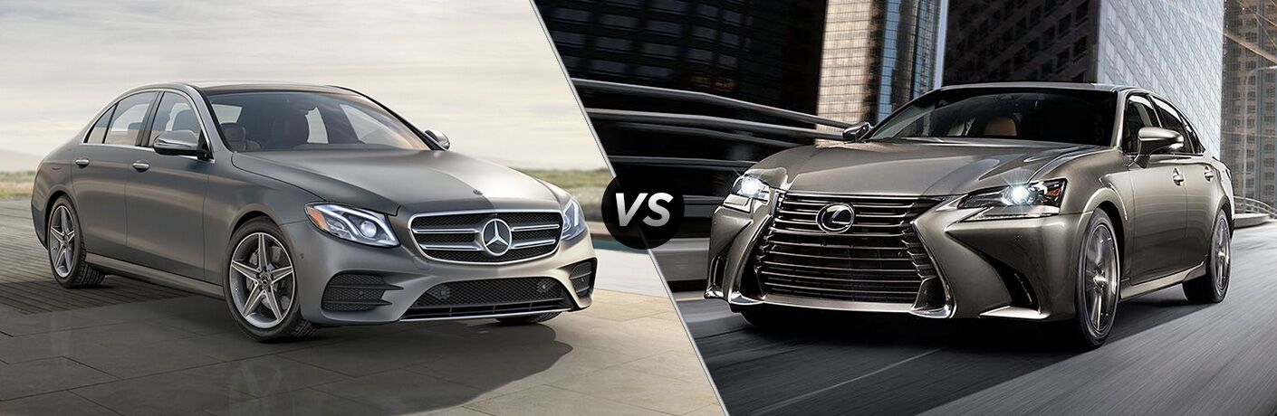 side by side images of the 2018 Mercedes-Benz E-Class and 2018 Lexus GS sedans
