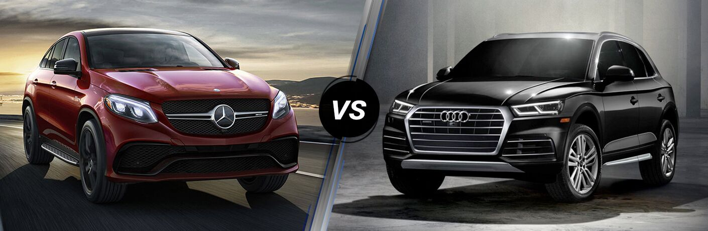 red 2018 Mercedes-Benz GLE compared against a black 2018 Audi Q5
