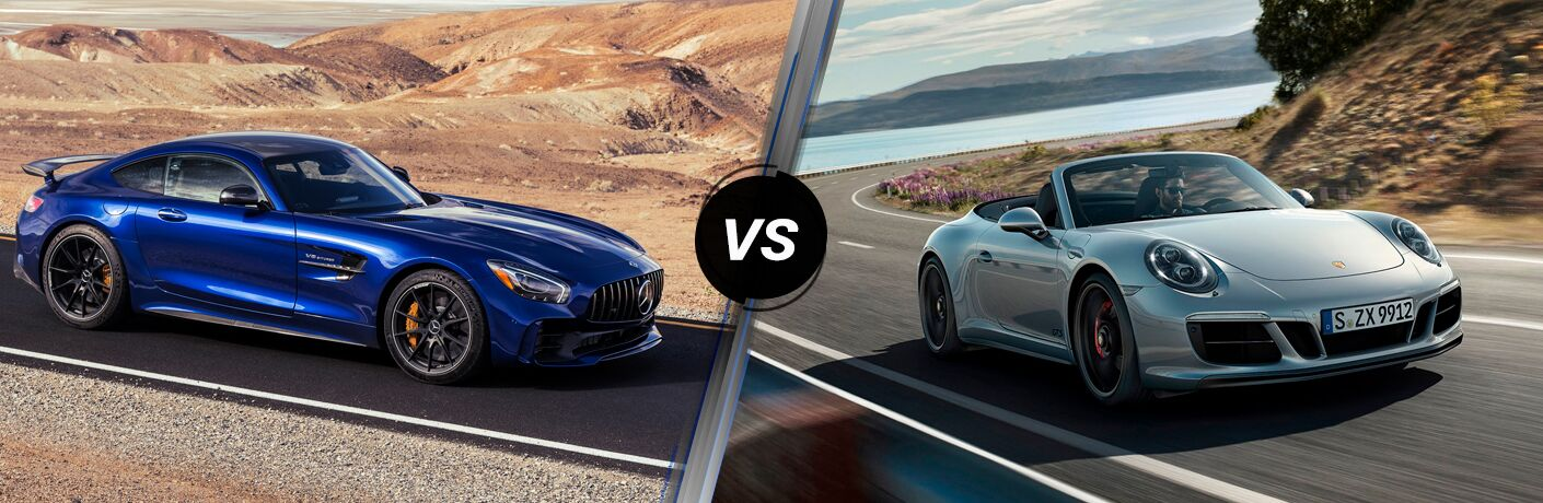 Blue 2019 Mercedes-AMG® GT Coupe and silver 2019 Porsche 911 GTS