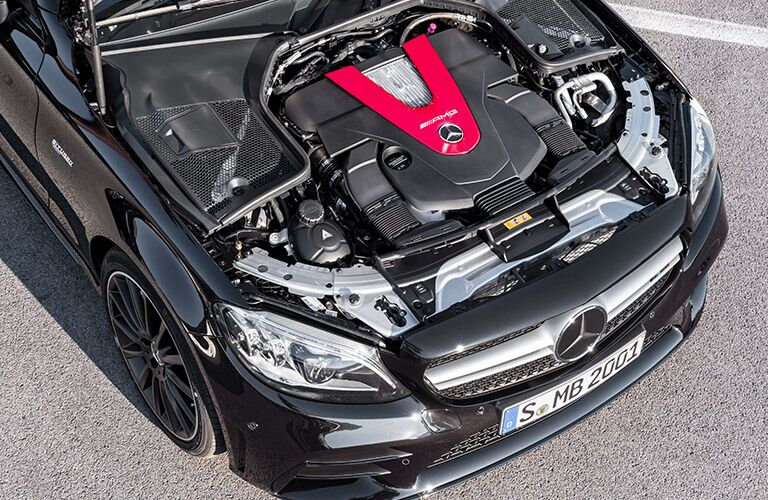 2019 Mercedes-AMG C-Class engine in the car