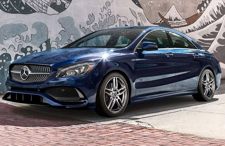 blue Mercedes-Benz CLA