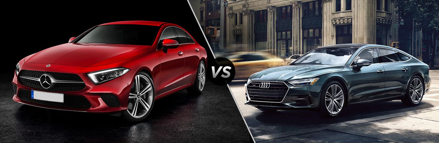Red 2019 Mercedes-Benz CLS and black 2019 Audi A7 Sportback