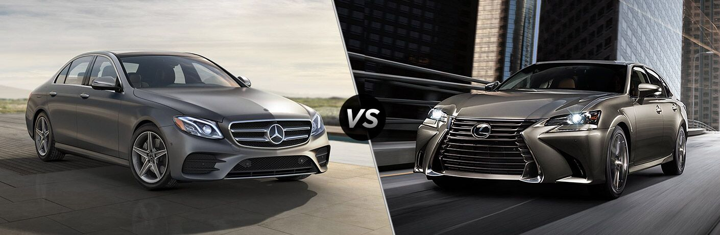 Grey 2019 Mercedes-Benz E-Class and grey 2019 Lexus GS