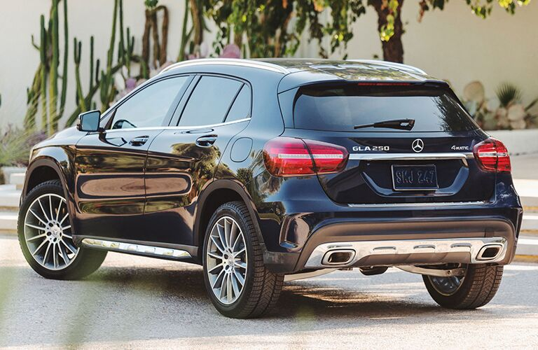 Rear view of blue 2019 Mercedes-Benz GLA