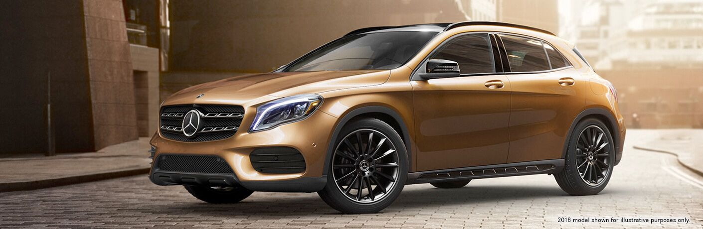 side view of a gold 2019 Mercedes-Benz GLA