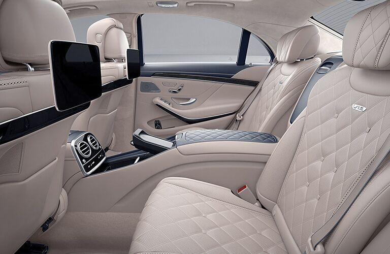 2019 MB S-Class interior back cabin side view seats and entertainment screens