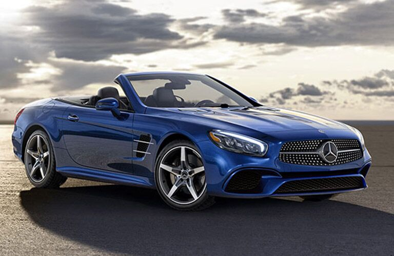 2019 Mercedes-Benz SL Roadster in blue with the top down