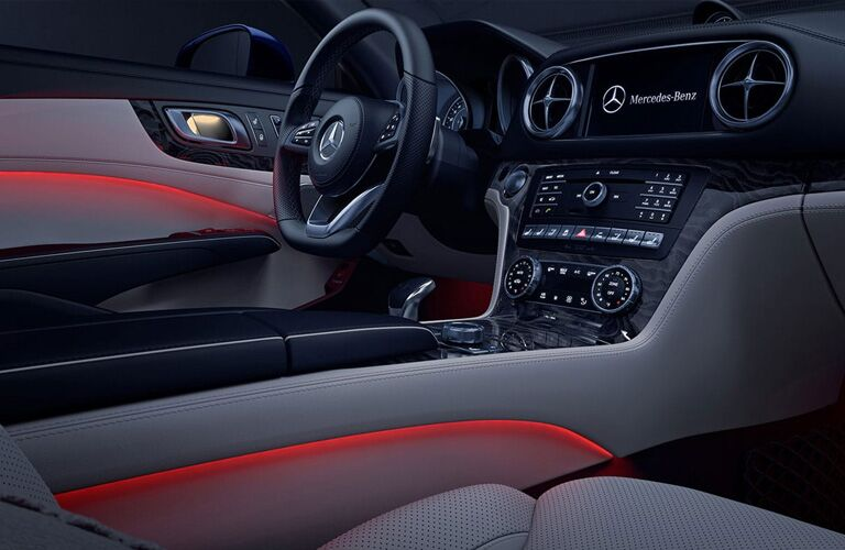 Interior view of 2019 Mercedes-Benz SL Roadster with red lighting