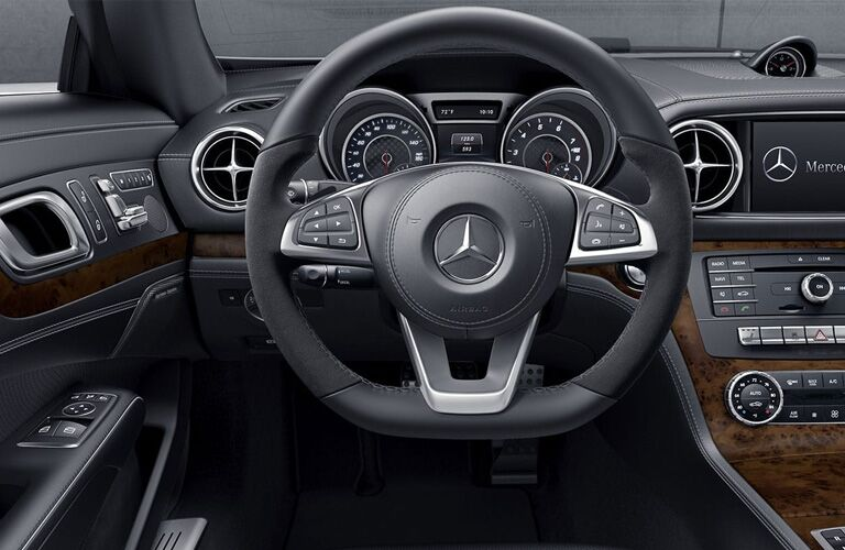 Closeup of steering wheel in 2019 Mercedes-Benz SL Roadster