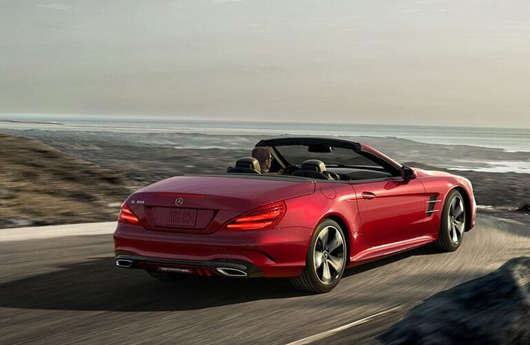 Red 2019 Mercedes-Benz SL Roadster with roof open