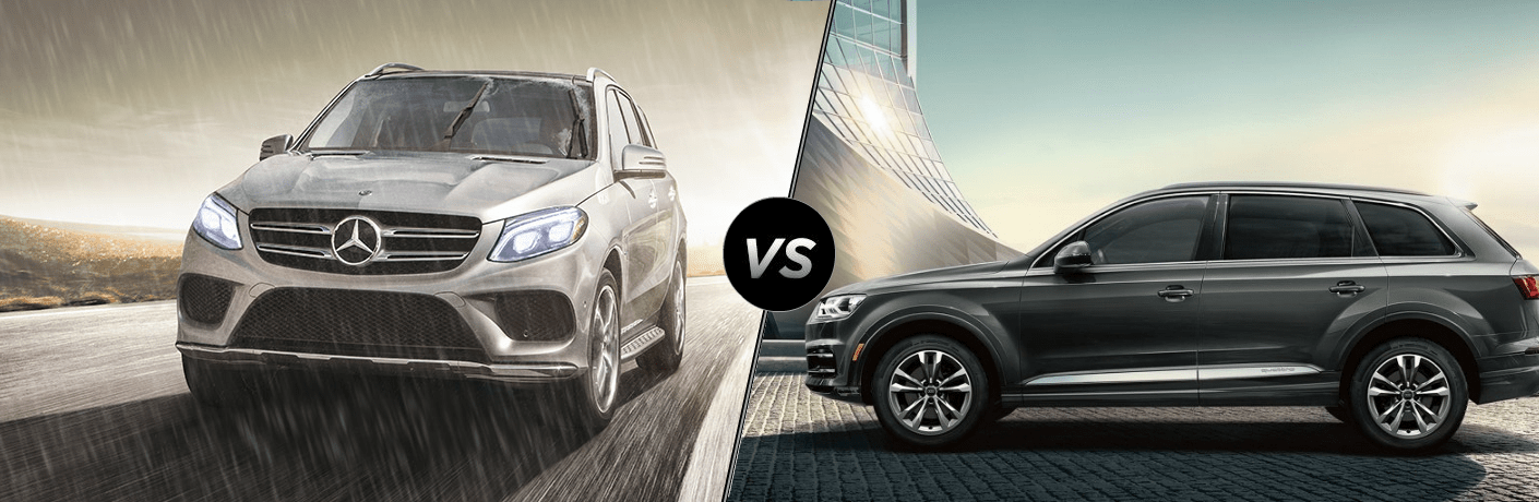 Silver 2019 Mercedes-Benz GLE SUV and grey 2019 Audi Q7