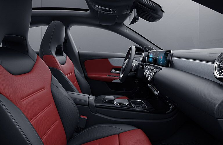 2020 MB CLA interior red and black front seats