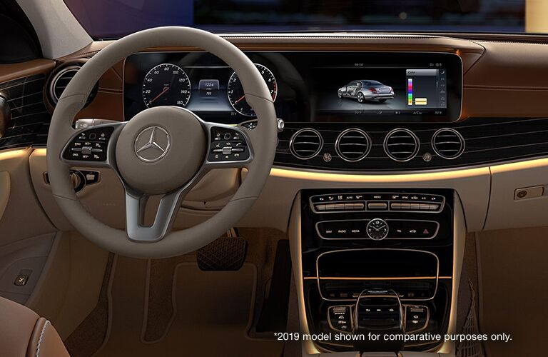 2019 Mercedes-Benz E-Class Front Interior with White *2019 Model Shown for Comparative Purposes Only. Text in Lower Right