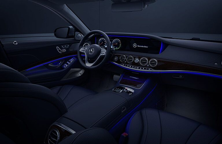 2020 MB S Class interior dashboard lit with blue ambient lighting