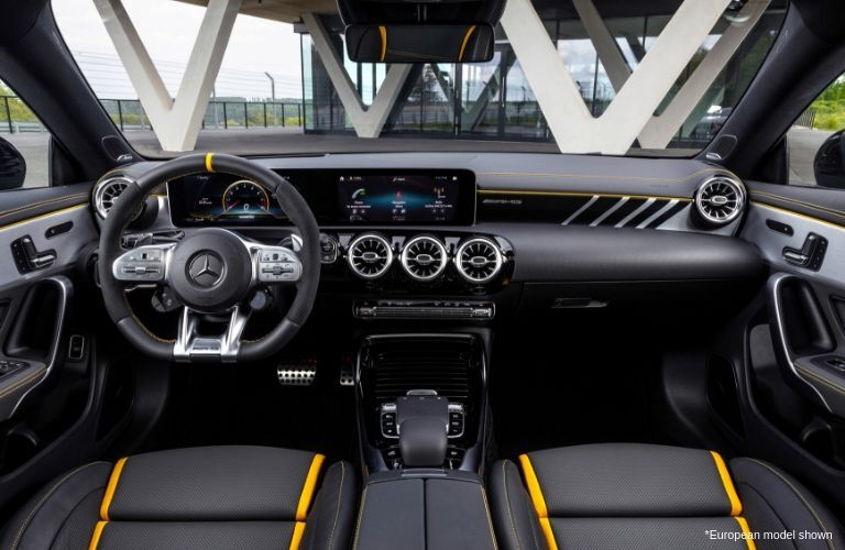Steering wheel and dashboard in 2020 Mercedes-AMG® CLA 45 European model